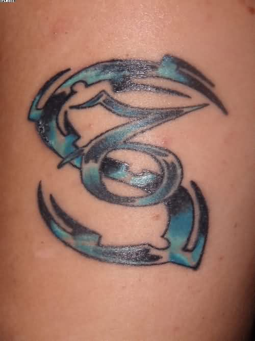 Black And Blue Ink Zodiac Capricorn Tattoo