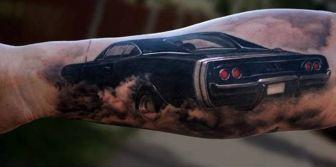 Black Classic Car Tattoo On Arm