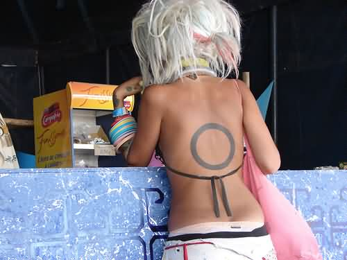 Black Ink Circle Tattoo On Sexy Back