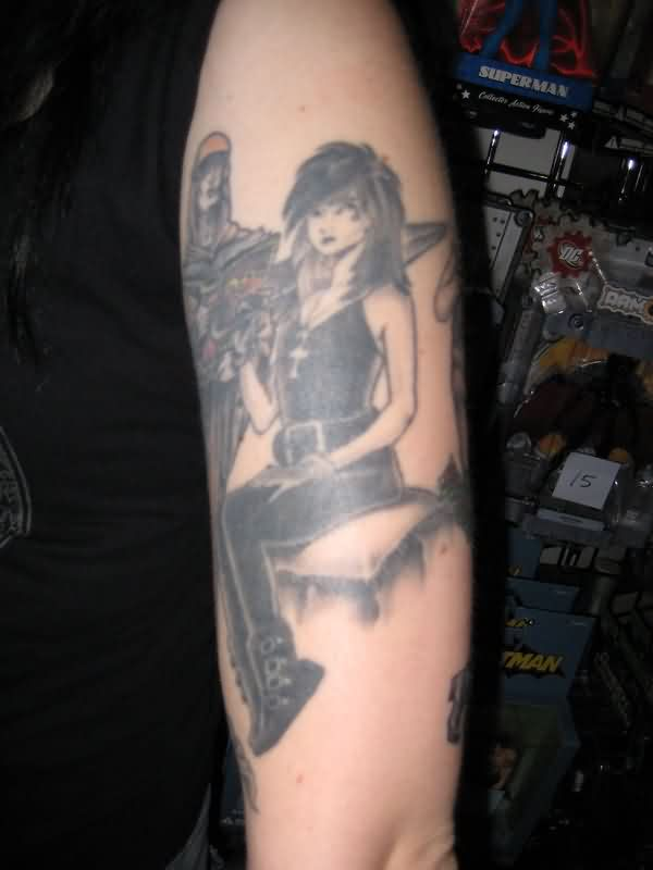 Black Ink Death Girl Tattoo On Arm