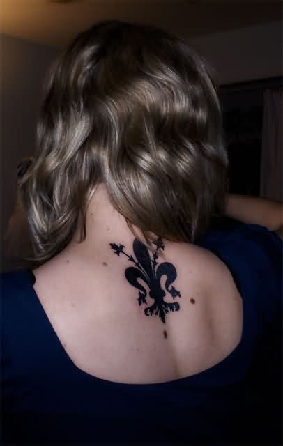 Black Ink Fleur De Lis Tattoo On Upper Back
