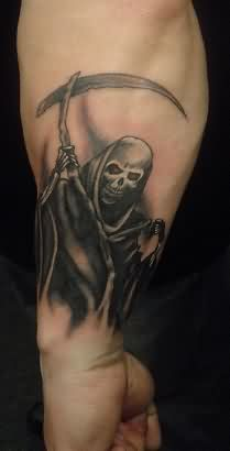 Black Ink Grim Reaper Tattoo On Arm