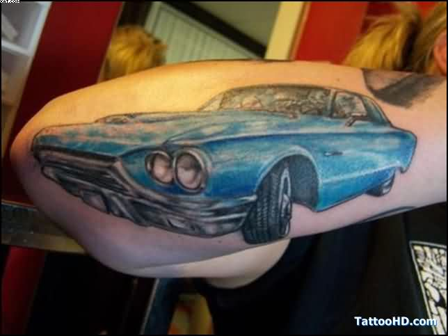 Blue Car Tattoo On Forearm