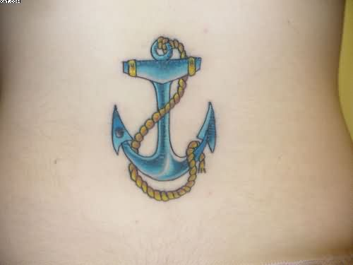 Blue Ink Anchor Tattoo With Rope
