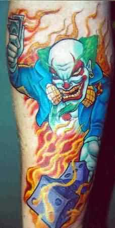 Burning Clown Tattoo