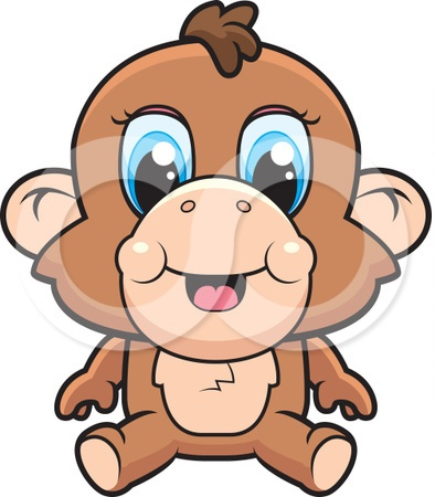 Cartoon Cute Monkey Tattoo Design