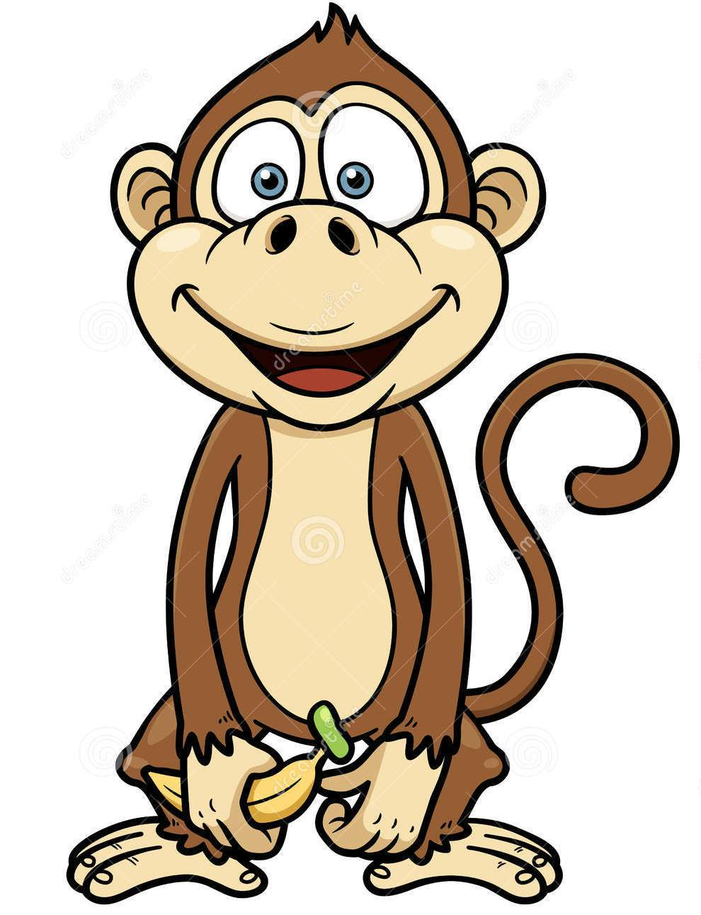 Cartoon Monkey With Banana Tattoo Design