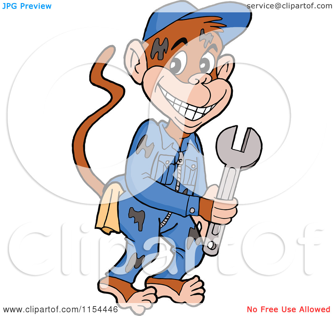 Cartoon Of A Grease Monkey Mechanic Holding A Wrench Tattoo Design
