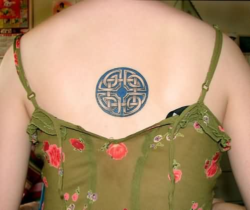 Celtic Knot Circle Tattoo On Back For Women