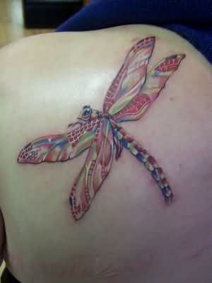 Color Ink Dragonfly Tattoo On  Back Shoulder