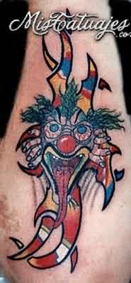 Color Ink Screaming Clown Tattoo