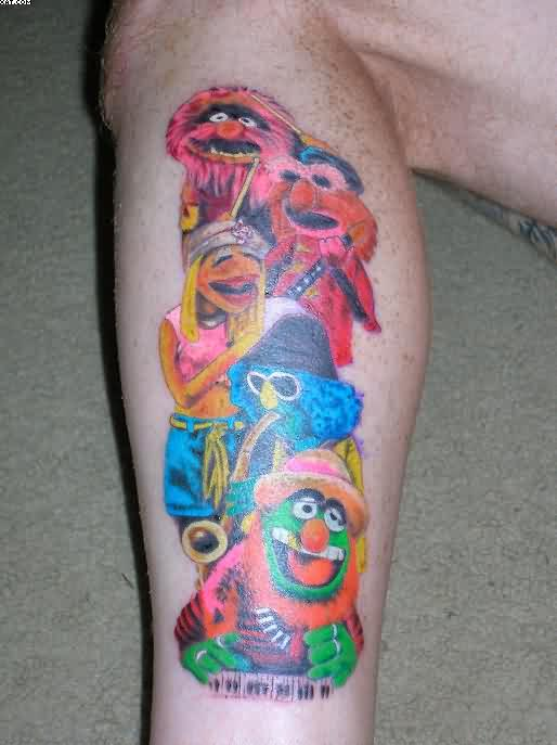 Colorful Cartoons Tattoos On Leg