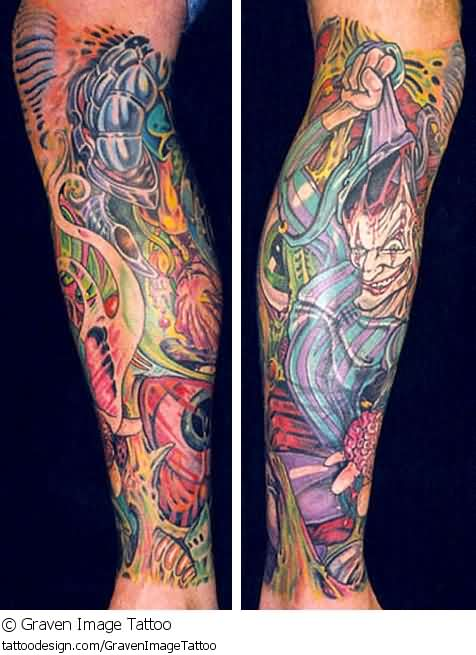 Colorful Clowns Tattoos On Leg