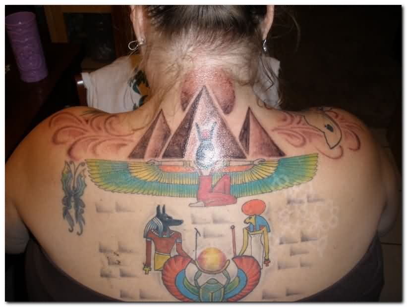 Colorful Egyptian Tattoos On Back