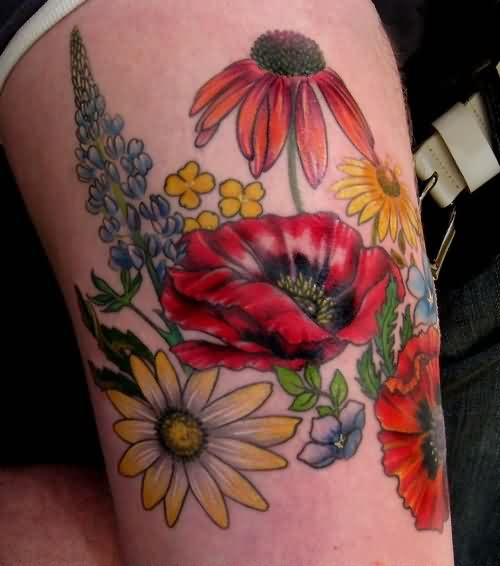 Colorful Flowers Tattoos On Thigh
