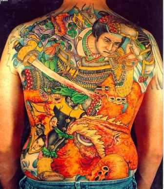 Colorful Full Back Asian Tattoo Design