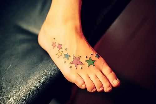 Colorful Stars Tattoos On Foot