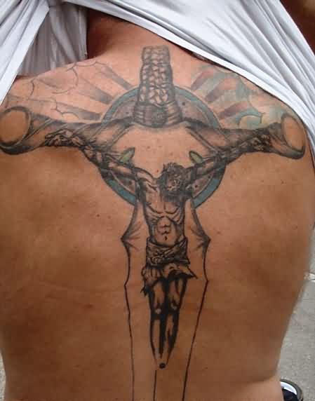Crucifix Tattoo On Back For Men