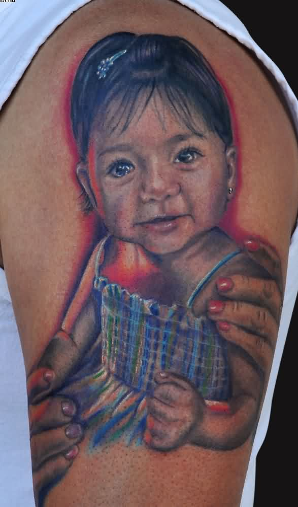 Cute Baby Girl Tattoo On Muscles