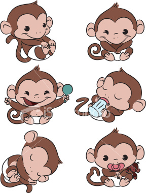 Monkey Cartoon Baby baby girl monkey in diaper