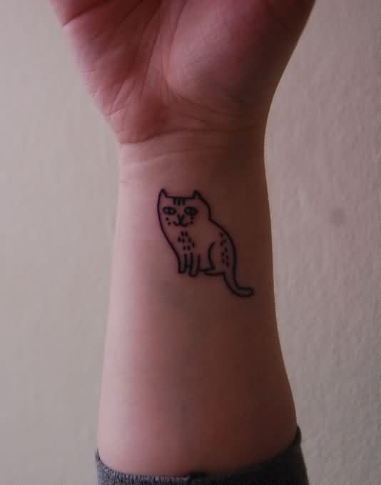 Cute Cat Tattoo For Your Wrist