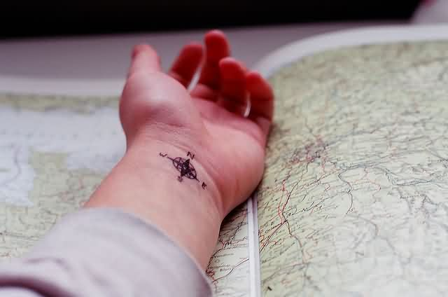 Cute Compass Tattoo On Wrist