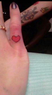 Cute Heart Tattoo On Baby Finger