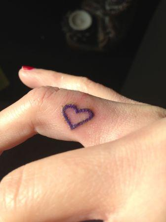 Cute Heart Tattoo On Finger Side