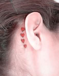 Cute Heart Tattoos Behind Ear For Girls