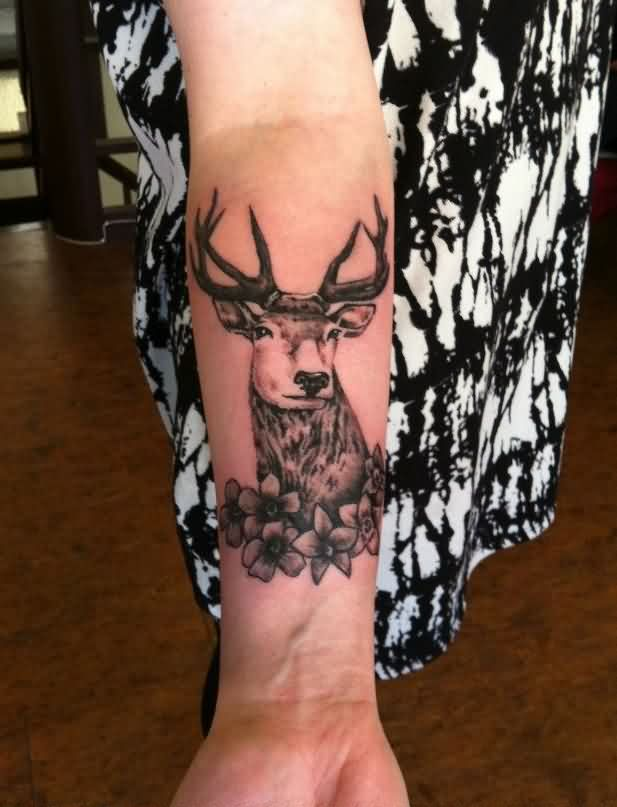 Deer And Flowers Tattoos On Lower Arm