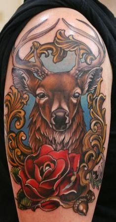 Deer And Red Rose Tattoos On Arm