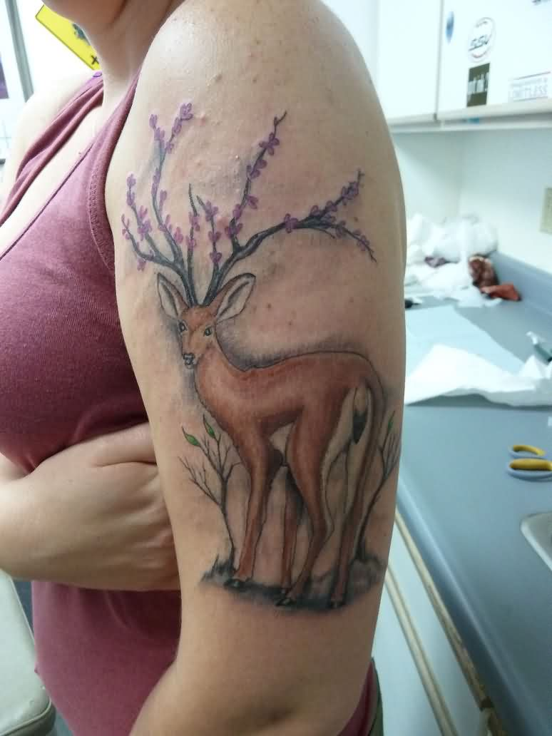 Deer With Flowers Antlers Tattoo On Biceps