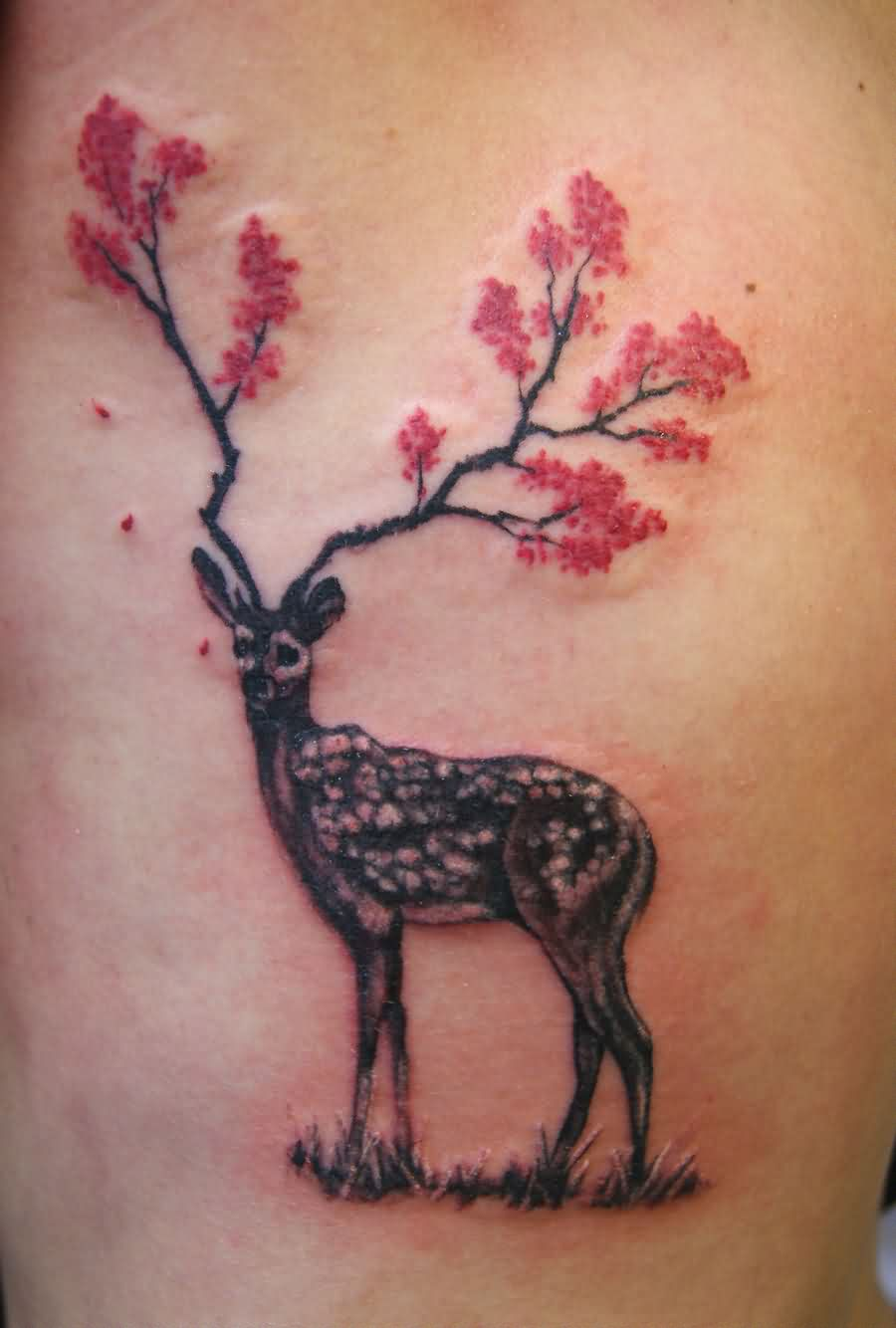 Deer With Flowers Antlers Tattoo