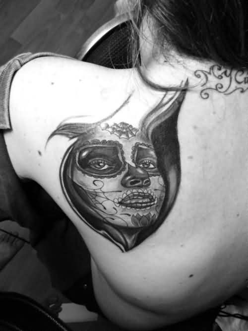 Dia De Los Muertos Tattoo On Shoulder Back