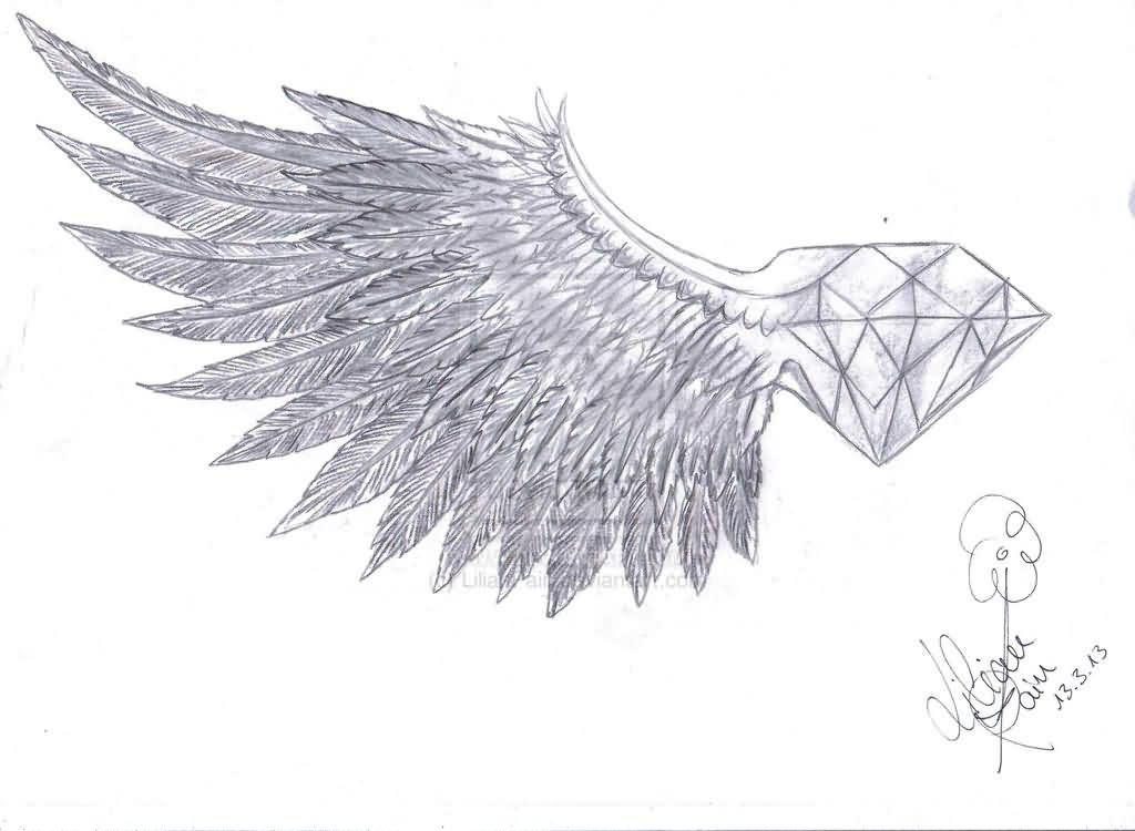 Diamond With Wings Tattoo Drawing