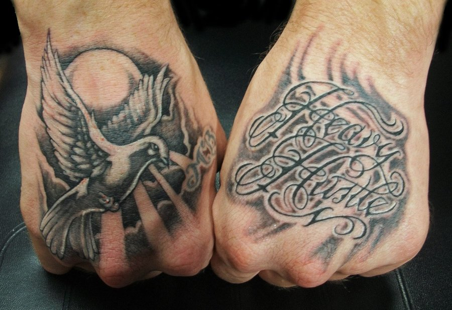 Dove And Script Hand Tattoos