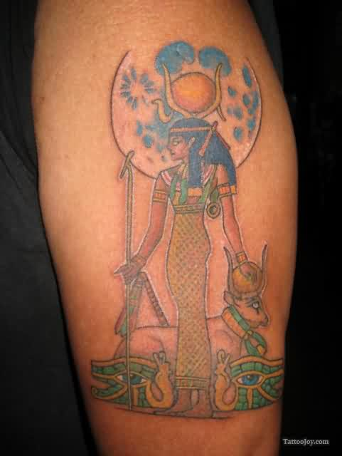 Egyptian Lady Tattoo On Biceps