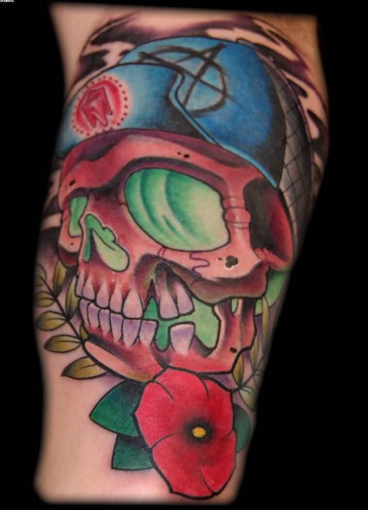 Fabulous Skater Skull Horror Tattoo