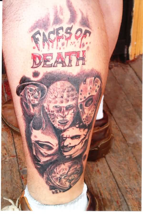 Faces Of Death Tattoos On Legs