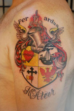 Family Crest Tattoo On Shoulder