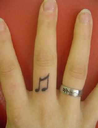 Finger Tattoo Of Music Symbol