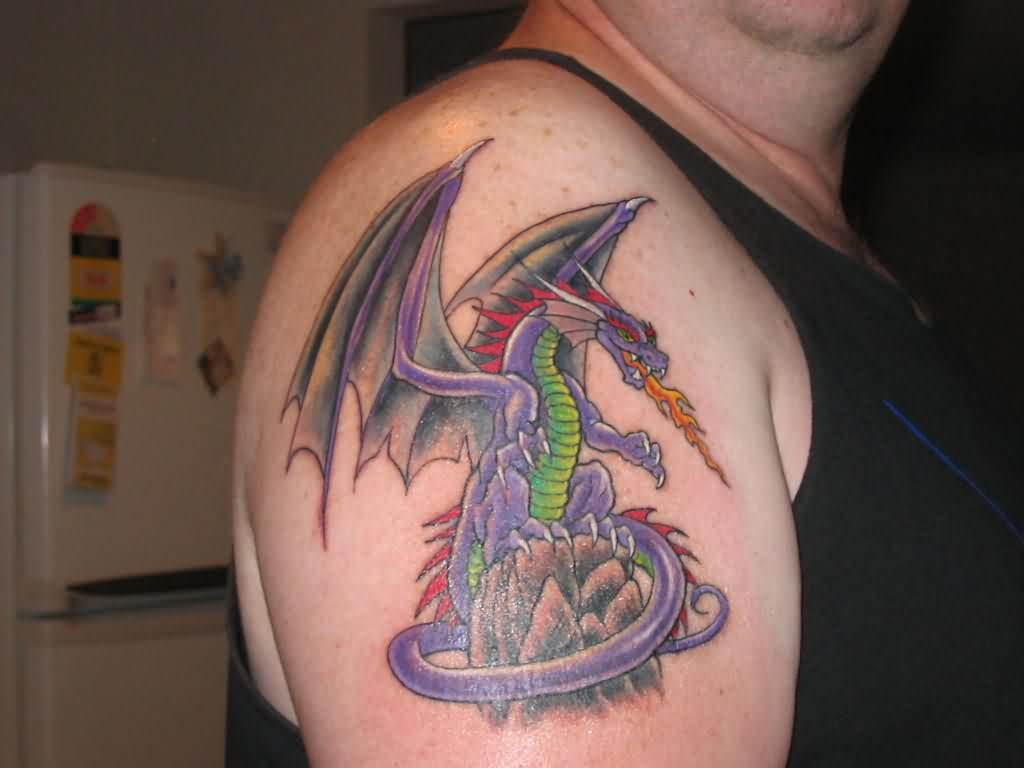 Fire Breathing Dragon Tattoo On Shoulder