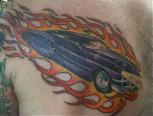 Flaming Car Tattoo On Chest