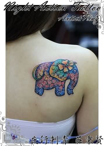 Floral Elephant Tattoo For Girls
