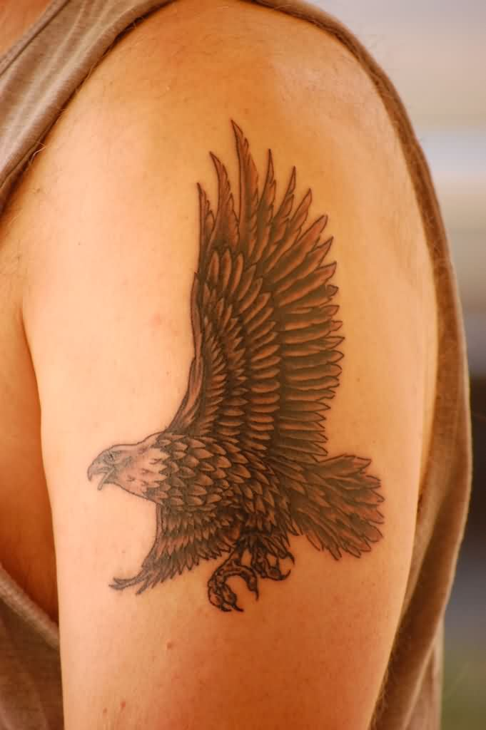 Flying Eagle Tattoo On Biceps