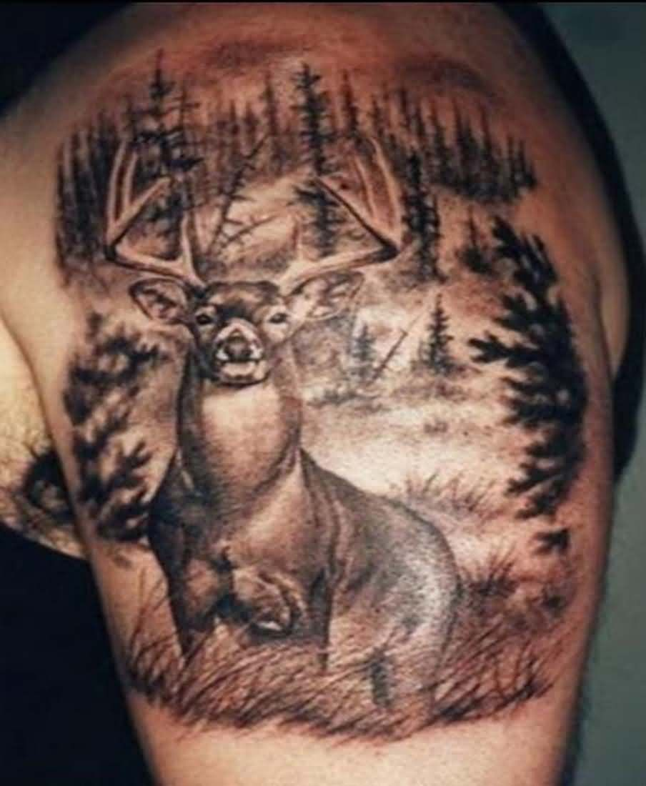 Forest Deer Tattoo On Upper Arm