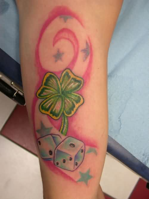 Four Leaf Clover With Dices Tattoos On Arm
