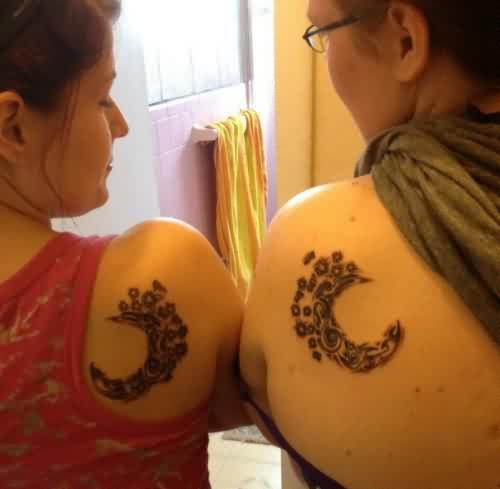 Friendship Moon Tattoo On Back Of Shoulders