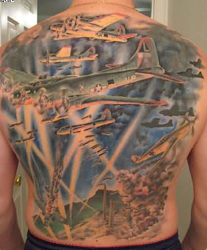 Full Back Army Fight Tattoo For Men