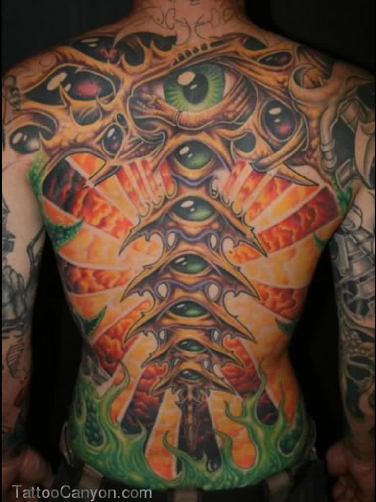 Full Back Biomechanical Eye Tattoos